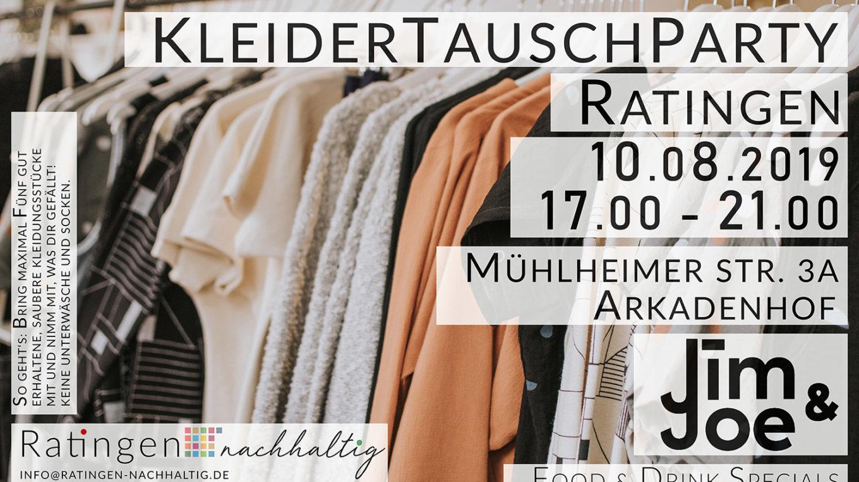 Ratingen.nachhaltig veranstaltet am 10.08.2019 eine Kleidertauschparty im Jim & Joe Ratingen
