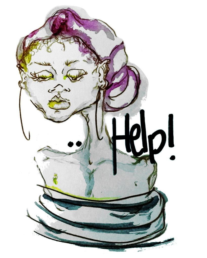 Illustration Help! von Eva Gille von Ratingen.nachhaltig für die Faire Woche Ratingen