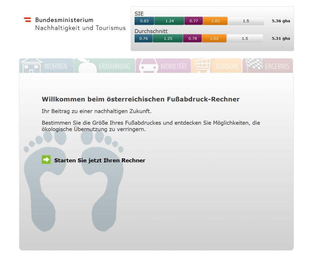 Ratingen.nachhaltig stellt die Berechnung des Ökologischen Rucksacks (gha) vom österreichischen Bundesministerium für Nachhaltigkeit und Tourismus vor