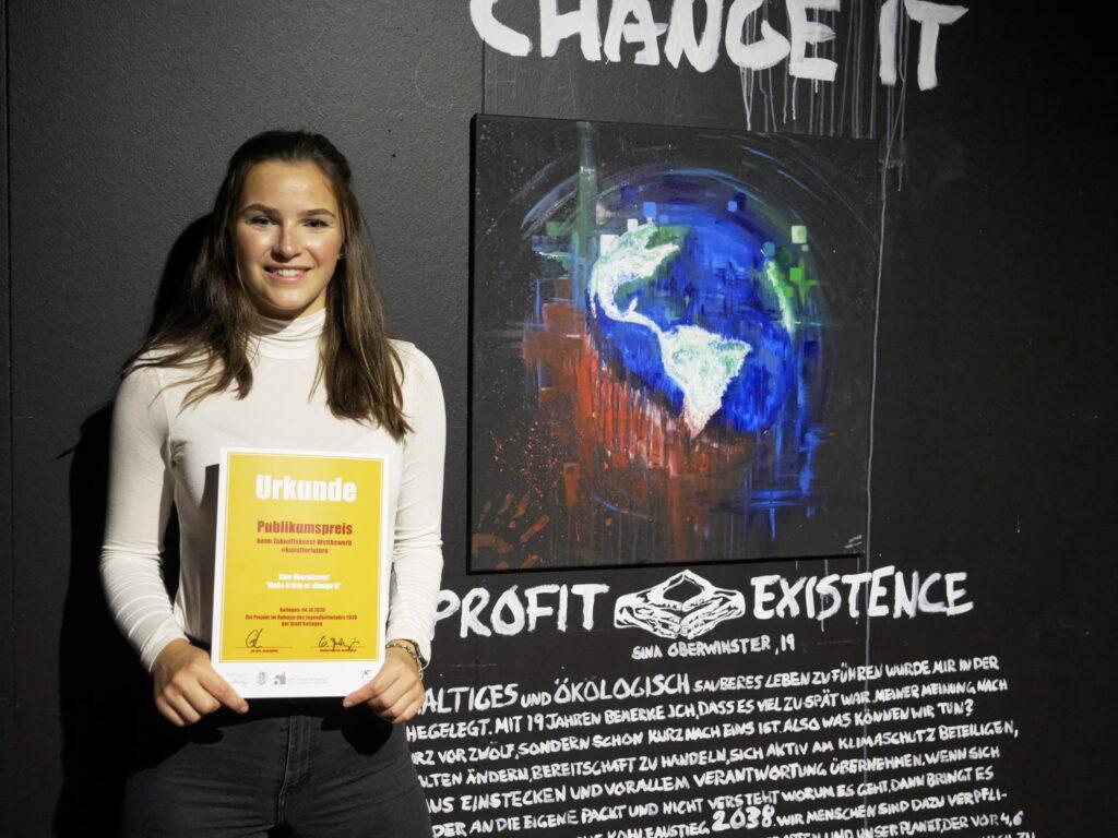"""Sina Oberwinster hat mit ihrem Bild """"Make it drip or change it"""" den Publikumspreis beim Zukunftskunst-Wettbewerb #kunstforfuture gewonnen. © Jugendkulturjahr 2020"""