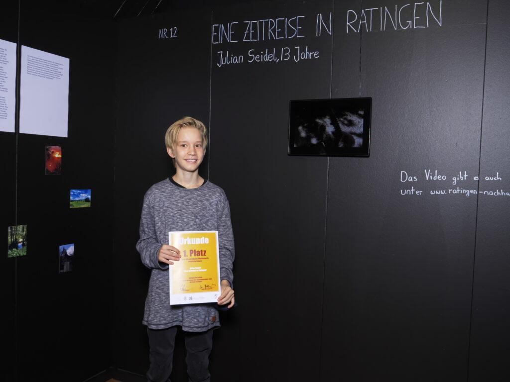 """Julian Seidel hat mit seiner Kurzgeschichte """"Eine Zeitreise in Ratingen"""" den ersten Preis beim Zukunftskunst-Wettbewerb #kunstforfuture gewonnen. © Jugendkulturjahr 2020"""